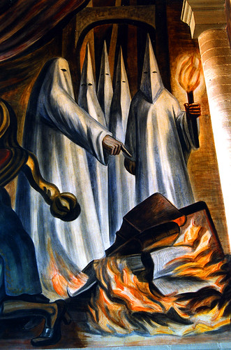 Book burning Mural by Jose Chavez Morado, Museo Alhondiga de Granaditas, Guanajuato, Mexico