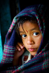 nepalese girl watching the rain - portrait girl travel asia 2002 phitar nepal rain watching nepalese