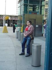 Columbus Circle Cowboy (annmarie2223) Tags: cowboy newyorkcity sit denim mycooljeans psfk usa