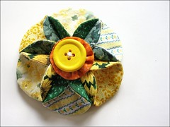 yellowngreen flower pin (ccyytt) Tags: flower green yellow pin handmade crafts scraps