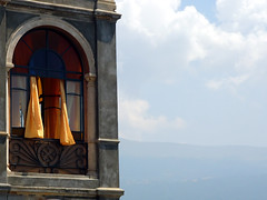open up (stereotyp-0815) Tags: blue sky italy house building window yellow clouds wind curtains 2304 lagodigarda