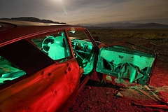 Datsun on Mars (Lost America) Tags: old lightpainting classic abandoned car japan night america vintage lost japanese automobile desert nevada voiture fullmoon nostalgic junkyard japon coaldale classique epave datsunb210