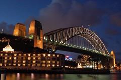Bridge and sky (FredrikN) Tags: travel bridge sky architecture night clouds wow d50 harbor nikon harbour sydney australia nikonstunninggallery