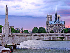 Pont de La Tournelle and Notre-Dame cathedral, Paris (Metropol 21) Tags: bridge sunset paris france architecture clouds cathedral gothic landmark notredame seineriver pontdelatournelle