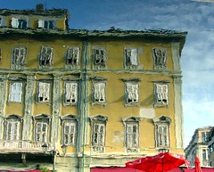 trieste reflected (or: trieste like a painting) (loungerie) Tags: red reflection building window water yellow canal giallo topf palazzo rosso trieste canale waterreflection riflesso