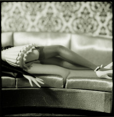 Couch, Legs (Ricohmatic) Tags: wallpaper blackandwhite macro mamiya film stockings mediumformat toy polaroid miniature legs maid rb67 665