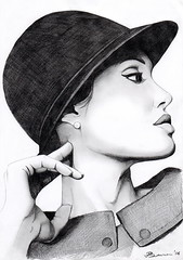 Dreaming......... (ladyLara ( Laura Blc )) Tags: portrait people bw woman laura celebrity art lines pencil sketch blackwhite artwork handmade drawing drawings line angelinajolie romania myart actor angelina jolie portret cluj arta myway angi desen creion schita ladylara laurabalc laurablc blc celebritydrawings