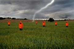 Field Of Dreams. (Suburbanvoodoo) Tags: orange art field canon 350d dream australia aliens spooky crop clones strike lightning flickrchallengegroup