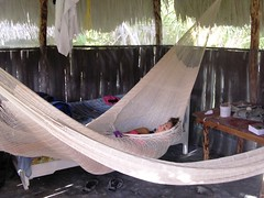 Capanna dei Caraibi dormendo nelle nostre amache Maya Mahahual Quintana Roo Yucatan Messico