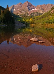 Stepping Stones (Matt Champlin) Tags: morning autumn mountains color reflection fall nature bells sunrise landscape colorado maroon steppingstones aspen snowmass maroonbells