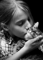 Clarissa and Chi Chi 8 (Stephen Poff) Tags: blackandwhite pet cat clarissa chichi 1on1peoplephotooftheday