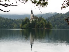 15th century Pilgrimage Church of the Assumption of Mary, Bled, Slovenia (Shelley & Dave) Tags: reflection church water geotagged island slovenia bled slovenija geo:tool=gmif geo:lat=46365884 geo:lon=14100266