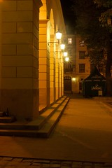 town council. lights at entrance (Anatoliy Odukha) Tags: lviv nights lvivatnight