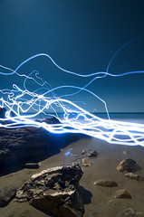 Night Voltage (Toby Keller / Burnblue) Tags: longexposure toby moon beach santabarbara night landscape lights keller d70 headlamp otherside hendrys almostfull tobykeller 1118mm burnblue