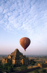 Velvia #2 021 (Kelly Cheng) Tags: topf25 temple balloon aerial velvia myanmar paya bagan dhammayangyi
