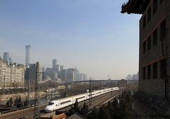 I_B_IMG_8382 (florian_grupp) Tags: asia china locomotive train railway railroad passenger diesel electric beijing station citywall beijingmainstation chaoyang peking cnr chinanationalrailway traffic bluesky