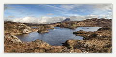 A very shy Canisp and not so shy Suilven (Katybun of Beverley) Tags: canisp suilven lochinver sutherland assynt northwestscotland scotland landscape lochdruimsuardalain loch scenic scenery clouds
