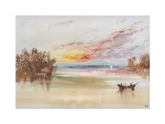 Scène de rivière (Yvan LEMEUR) Tags: aquarelle watercolour acuarela peinture scènederivière barque landscape paysage lumièredusoir
