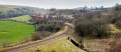 Brierlow Bar (Peter Leigh50) Tags: class 60 train railway landscape derbyshire railroad bridge field farmland moor quarry stone curve fuji fujifilm xt10