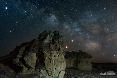 Planetary Bluff (kevin-palmer) Tags: spring april night sky stars starry astronomy astrophotography dark space early morning nikond750 tamron2470mmf28 wyoming milkyway galaxy galactic sagittarius mars saturn planets bluff rock formation sandstone sheridan planetary conjunction