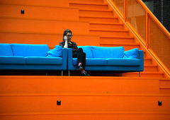 Blue Monday (YIP2) Tags: blue mondayblues people couch orange stairs line