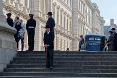 Filming (Geoff Henson) Tags: film period 1940s car suits hats people actors uniform soldiers buildings steps outfits 1000v40f