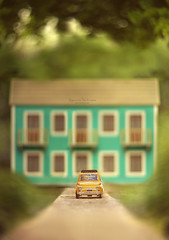 A place to call home (Ifigeneia Vasileiadis) Tags: tree bokeh grass mansion cottage countryside homesweethome miniodyssey car toy 500fiat yellow scale model helios40285mm windows