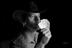 2018 The Queen of Hearts (jeho75) Tags: sony ilce 7m2 minoltarokkor50mm112 portrait selbstportrait black white schwarz weis monochrome poker cards hat flash nior dark background