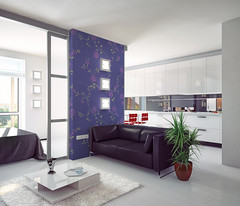 modern  apartment (Maydos-Frank) Tags: modern style apartment photorealistic illustration flat architecture design loft penthouse contemporary parquet white kitchen furniture sofa bed sliding doors carpet rug table room home house wall light sunlight ceiling beautiful fashion elegance nobody property resident glass russianfederation