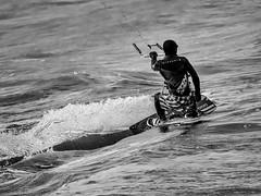 Ripcurl (roseysnapper) Tags: firthofforth olympusmzuikodigitaled75300mmf4867ii olympusomdem10ii blackandwhite kiteboarding cramond ripcurl scotland kite monochrome outdoor sport wave wind