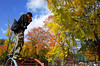 Take-san and autumn leaves (Eric Flexyourhead) Tags: tennoji tennojiku 天王寺区 osaka osakashi 大阪市 kansai 関西地方 japan 日本 playground autumn fall leaves colourful vibrant vivid guy man dude japanese takesan friend photographer ricohgr