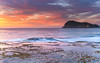 Sunrise Seascape with Clouds and Island (Merrillie) Tags: daybreak sunrise nature dawn coast water morning sea newsouthwales rocks pearlbeach nsw rocky waterscape ocean earlymorning landscape waves coastal clouds outdoors seascape australia centralcoast sky seaside