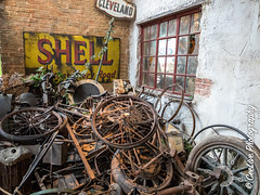End of the road! (cee live) Tags: england bikes cars vintage bicycles scrap metal abandoned canon flickr