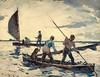 FrankBensonSailingCanoes (Alex Hiam) Tags: benson watercolor duck hunting canoe sailing dog hunters men sunset painting people boat marsh water