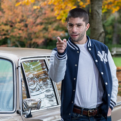 Costanza Shot (Shawn Herring) Tags: seinfeld george costanza volunteer park seattle fall autumn male model new york yankees baseball jacket bmw 2000 1967 point shawn herring nikon d7100