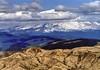 Mount Hood, Oregon, with devastated forests of Mount St. Helens, Washington, in foreground, c1985. (edk7) Tags: nikonnikkormatft2 colournegativefilm edk7 c1985 us usa pacificnorthwest washington skamaniacounty mountsthelensnationalvolcanicmonument mountsthelens stratovolcano cascaderange cascadevolcanicarc devastatedforest mounthood clackamascounty hoodrivercounty oregon geology snow sky cloud mountain valley peak ridge landscape vista park nature