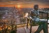 Einstein im Rosengarten (Hanspeter Ryser) Tags: einstein bern schweiz switzerland sunset sonnenuntergang altstadt stadt aare kunst art sculptur abend natur
