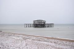 Brighton 19 March 2018 003 (paul_appleyard) Tags: brighton march 2018 pier west beach ruin ruined snow snowy snowcovered pebbles