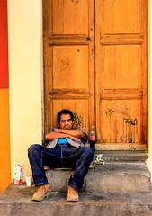 Sweet dreams (klauslang99) Tags: streetphotography klauslang guanajuato mexico person sleeping door