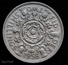 Back in the day when we used a Florin (toonarmy59) Tags: macromondays backintheday twoshillings florin coin 1958 cupronickel floraldesign edgarfullerandcecilthomas indoors lowkey macro