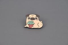 Pug Enamel Pin by Noristudio (noristudio3o) Tags: pug dog enamel pin lapel puglife puglover illustrator succulent plant house pet funny cute kawaii