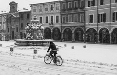another winter's post (lucafabbricesena) Tags: cesena piazzadelpopolo emiliaromagna italia snow riding bike city winter bw palace architecture fountain fontana masini arcade mornig nikon d800 snowyscenery building