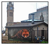 STREET ART by SKYHIGH (StockCarPete) Tags: streetart londonstreetart urbanart graffiti shy high fox animalart clock clocktower surbiton uk london reflection glass