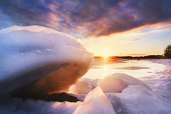 ice in sunset (petterikari) Tags: sunset ice shore clouds colorful saturated landscape
