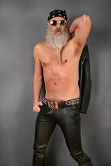 Black Leather (Cowboy Tommy) Tags: leather black blackleather tight package bulge crotch hot belt beltbuckle stud studded shirtless lanky armpit hairy fur furry pubes pubichairs nips nipples muscle muscles beard bandana treasuretrail hairypits manly sex sexy