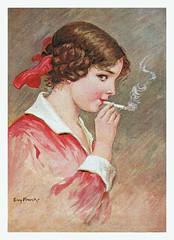 Mein Erste (vintagesmoke) Tags: postcard vintage illustration girl woman smoking cigarette linen color elly frank