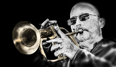 (daystar297) Tags: streetportrait portrait jazz blues horn flugelhorn selectivecolor bw bnw musician music performer nikon sunglasses people face closeup