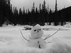 Frosty Snow Man Emerald Lake (Mr. Happy Face - Peace :)) Tags: trees hi yyc snowman art2018 scenery 7dwf bw