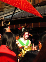 IMG_2082 (hattiebee) Tags: japan inuyama kimono traditional oiran makeup parasol red