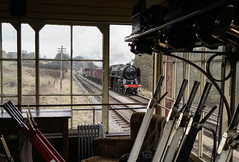 """The Brit at Damems"" Britannia 7MT 70013 'Oliver Cromwell' (Liam60009) Tags: 70013 olivercromwell cromwell oliver britannia brit british railway railways britishrailways signal signalbox levers framed window steam steamlocomotive steamtrain steaming sony sonya7rii a7rii"